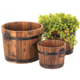 Set of 3 Rustic Wood Bucket Barrel Planters
