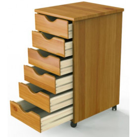 Wood Rolling 6-Drawer Cabinet